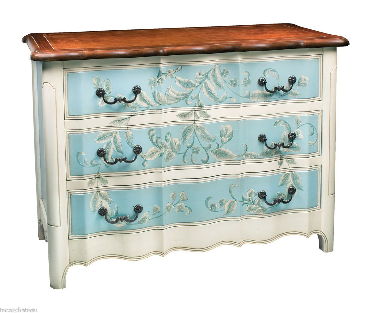 Tuscan French Country Blue Painted Furniture Sofa Hall Table