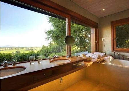 Lapostolle Residence - Bathroom in Private Casita overlooking Apalta Vineyards. #Colchagua Chile