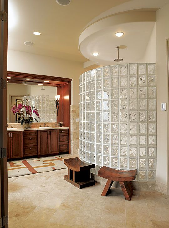 Wet Room Shower Curtains >> Bathroom , Fabulous Glass Block Shower Ideas: Smart Alternatives For Shower Curtains Or Glass ...
