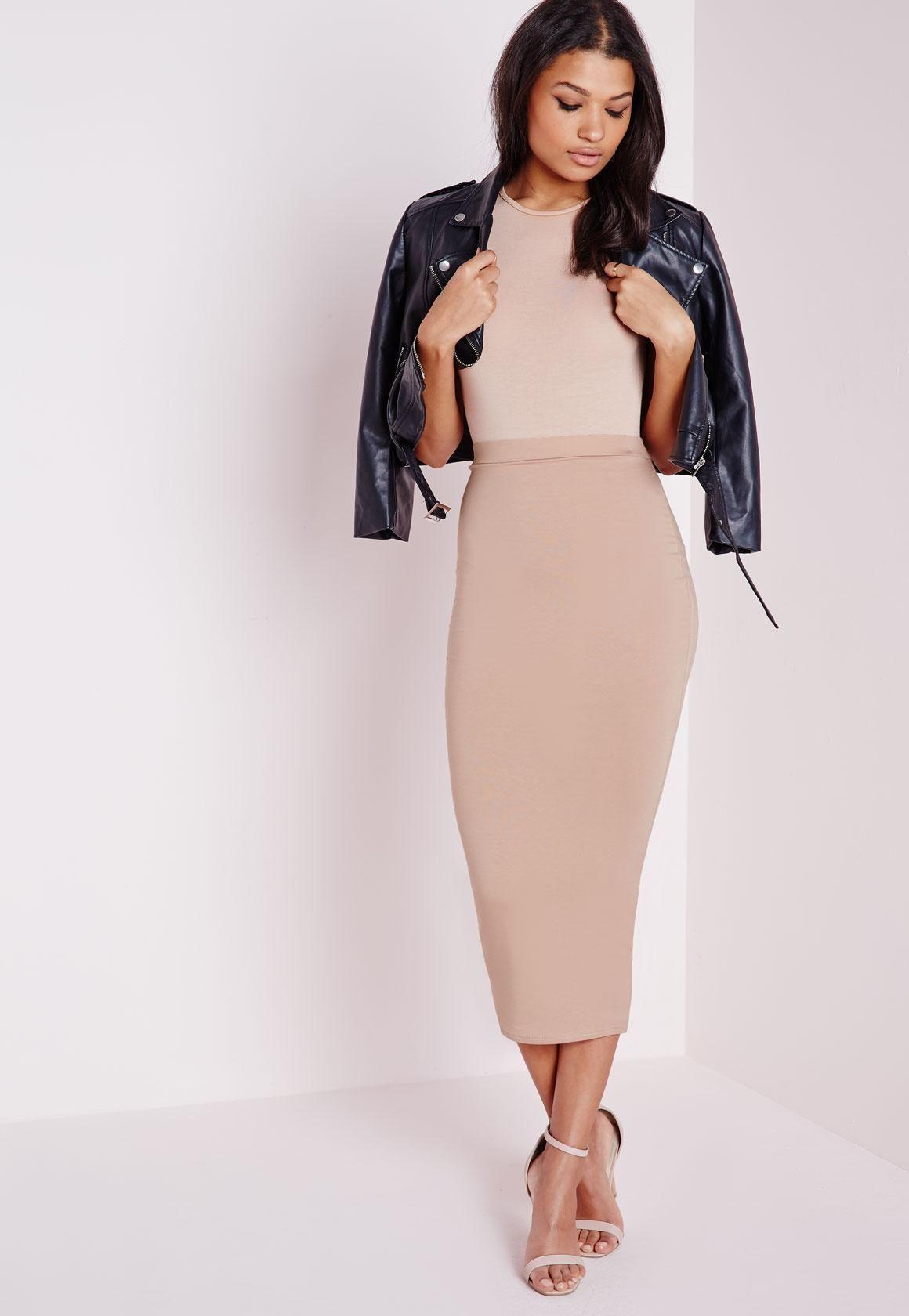 58d79f467 Missguided - Tall Longline Jersey Midi Skirt Nude | Fashion ...