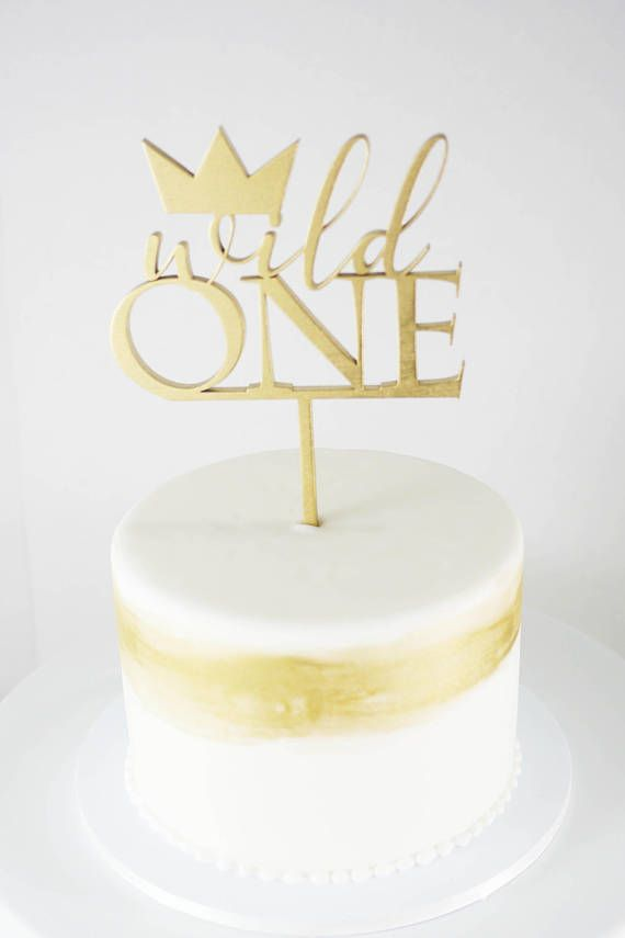 Wild One First Birthday Cake Topper Laser Cut Wood Modern