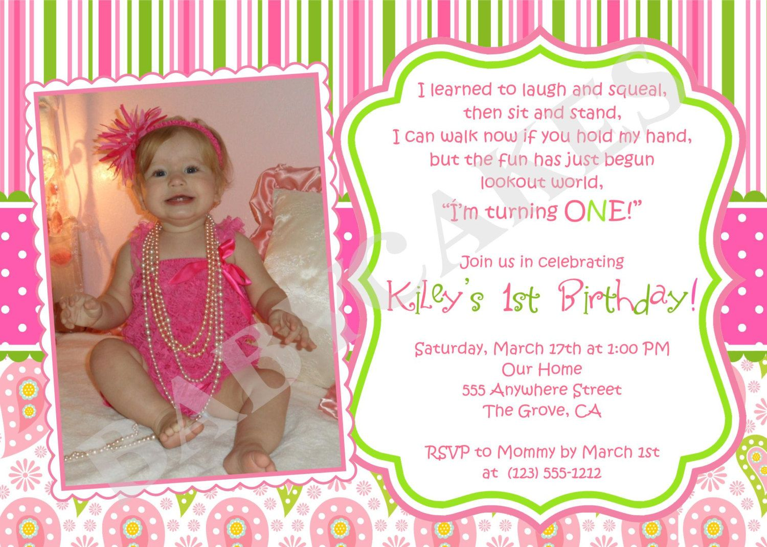 1st birthday girl themes | 1st Birthday Invitation Photo Invite DIY ...