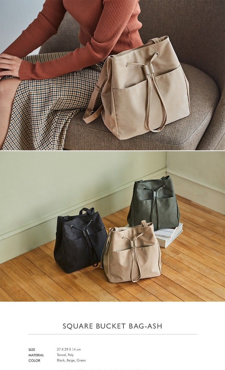 079e05a2b6  ITHINKSO아이띵소 SQUARE BUCKET BAG ASH (Black) Fabric Bags