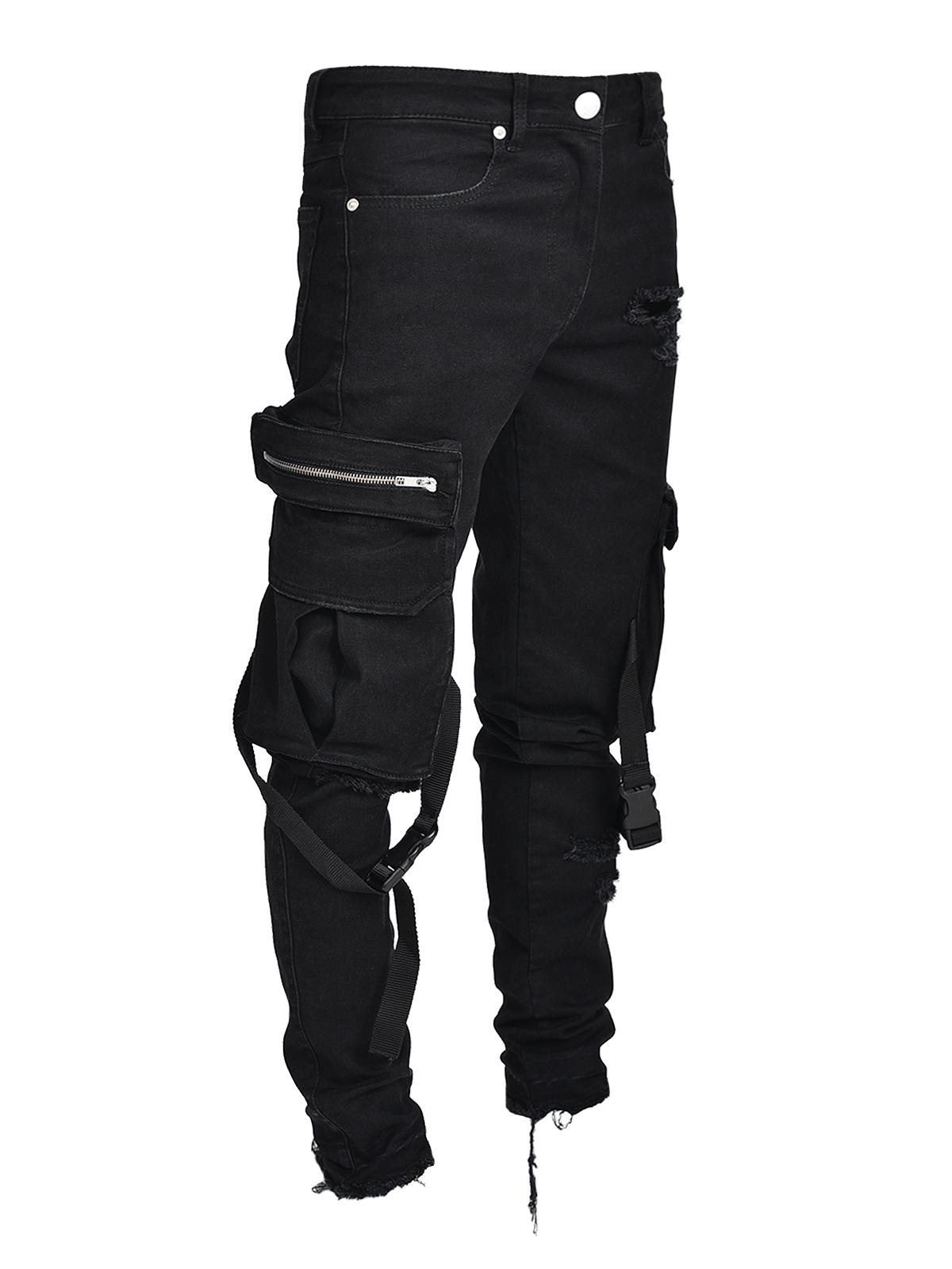 Cargo Denim Straps Black Lakenzie Ripped Jeans Men Cargo Pants Men Designer Denim Jeans