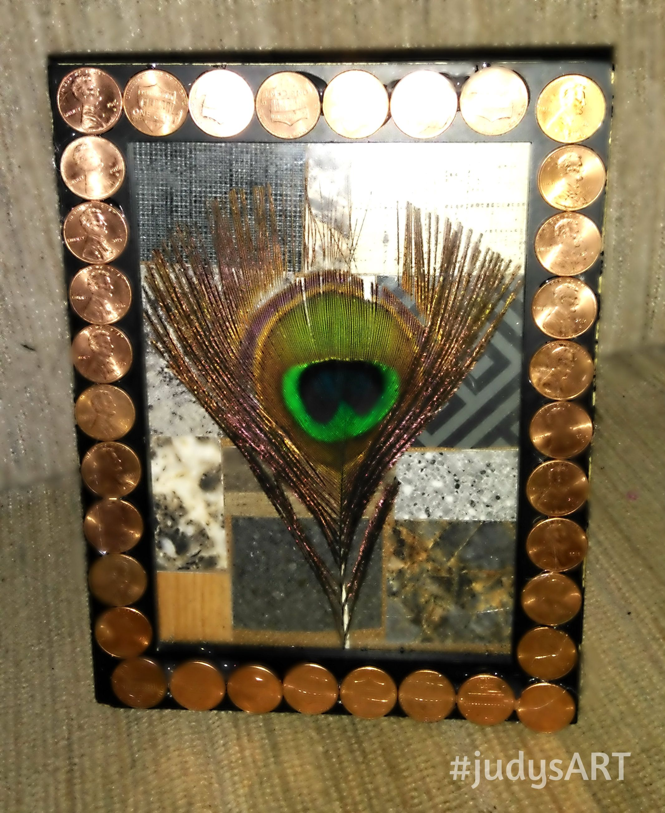 Framed peacock feather pennies picture frame home decor