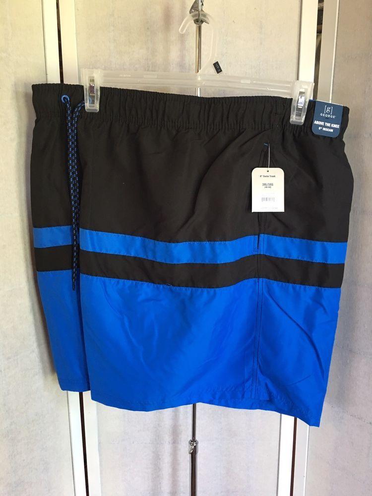 d5bbdaba85 George Big Men's Size 3XL 48-50 Blue Black Above Knee Swimwear Swim Trunk  NWT #George #Trunks