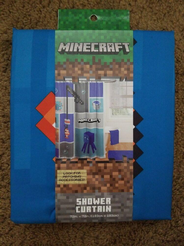 Blue Minecraft Shower Curtain 72 X 72 Video Game Kids Bathroom