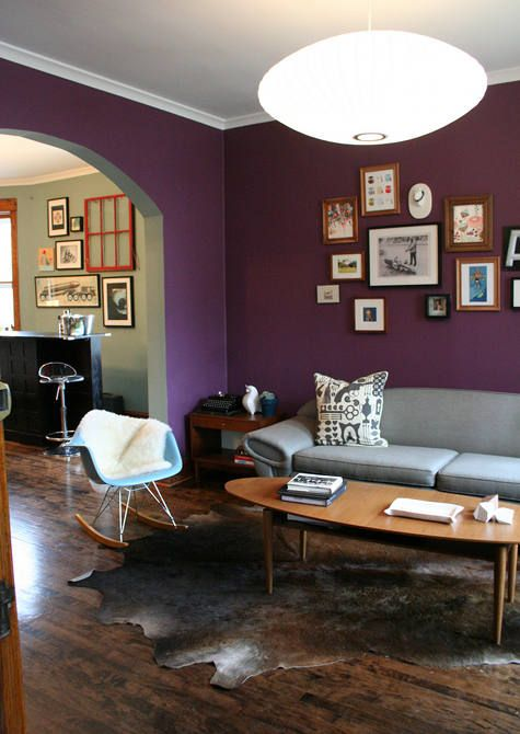 Fab Dark Purple Walls In A Mid Century Modern Living Room