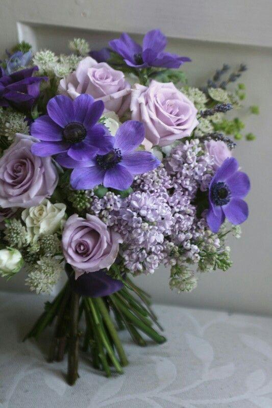 Purple Hand Tied Wedding Bouquet Featuring Purple Anemones Fresh Lavender Lavender Roses Flower Bouquet Wedding Purple Wedding Bouquets Real Wedding Flowers