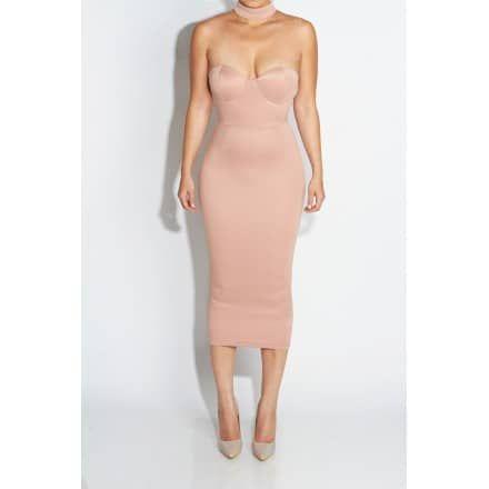 Tan Izabella Choker Bustier Dress - JLUX Label