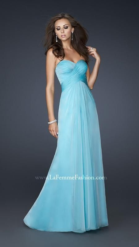 183f66b4129 Shop Simply Dresses for strapless chiffon formal gowns. La Femme long  strapless open back prom dresses for prom