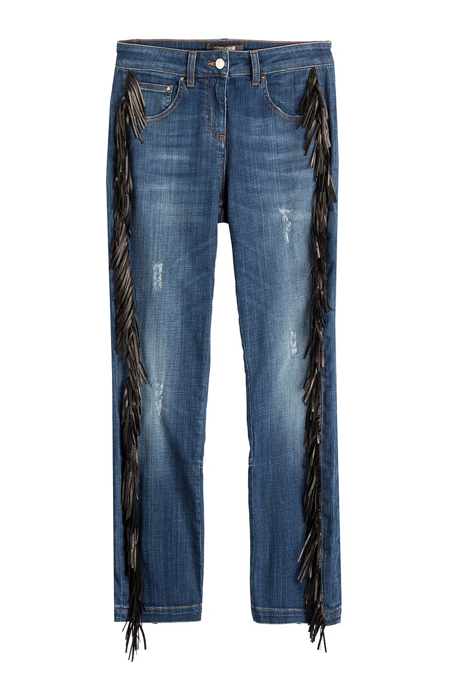 454819adeb ROBERTO CAVALLI Straight Jeans With Leather Fringe.  robertocavalli  cloth   straight leg
