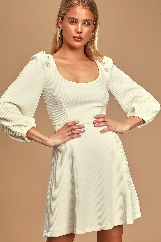 Stacy Ivory Ribbed Balloon Sleeve Mini Dress Mini Dress Long Sleeve Mini Dress Casual Dresses For Teens [ 1500 x 1000 Pixel ]