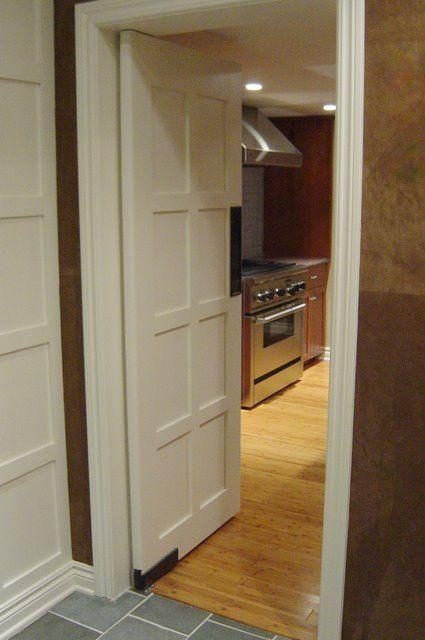 Black Swinging Door : Double swing paneled kitchen door push plate dark black