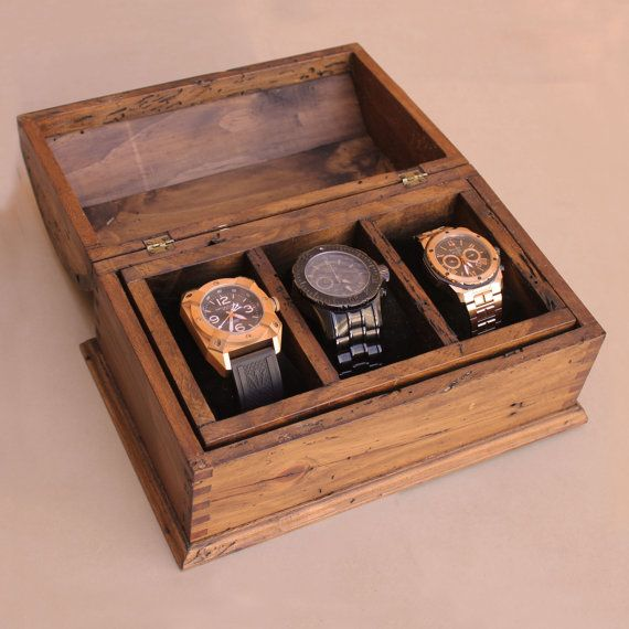 Personalized Rustic Men 39 S Watch Box For 3 By Ourweddinginvites Wood Watch Box Mens Watch Box Wooden Watch Box