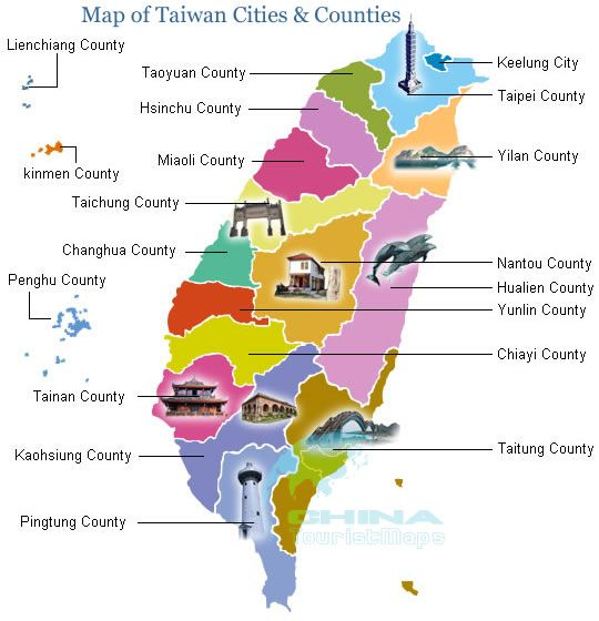 Map Of Taiwan Cities Counties FORMOSA Pinterest Taiwan And - Map of taiwan