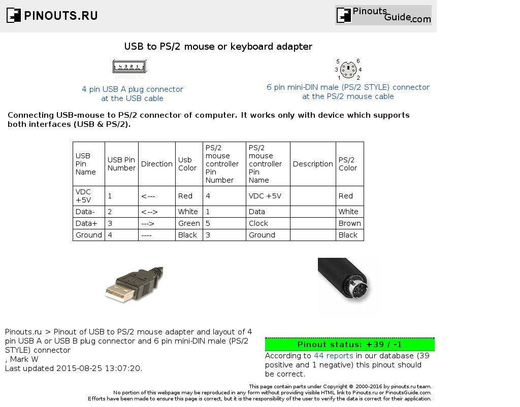 Usb To Ps2 Mouse Or Keyboard Adapter Pinout Pinouts Ru New Ps2 Keyboard To Usb Wiring Schematic Wiring Diagram Usb Keyboard Usb Cable