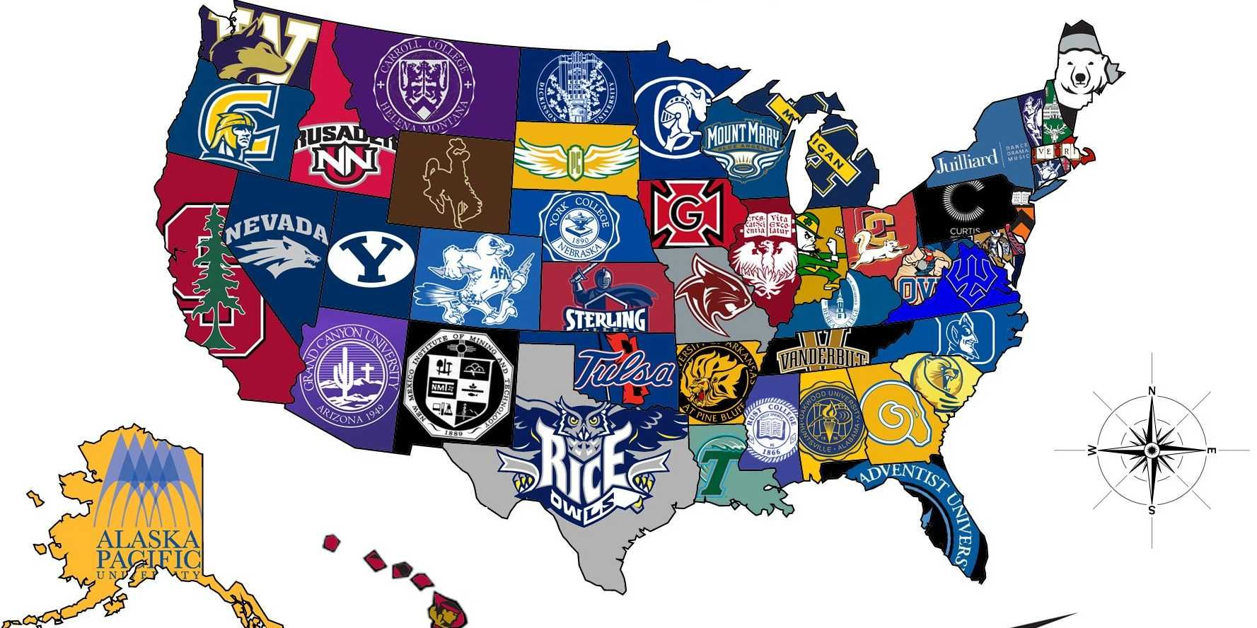 MAP The Most Selective College In Each State College College - Us map by best schools