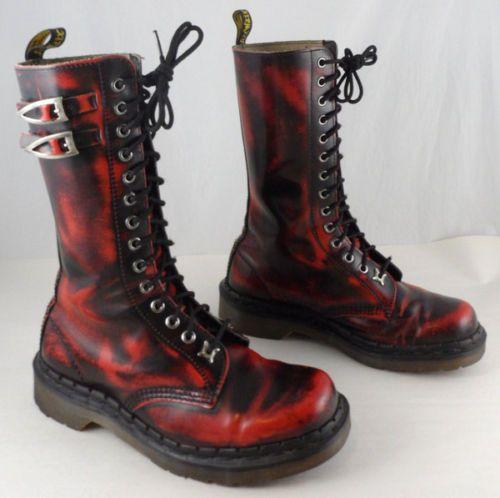 RARE-VTG-DOC-DR-MARTENS-BOOTS-UK-5-US-7-7-5-RED-BLACK-LEATHER-14-EYE