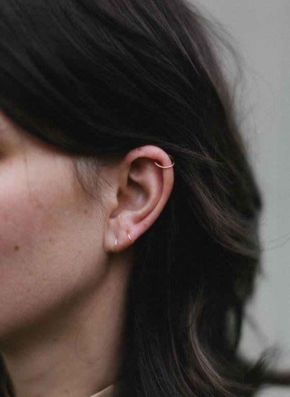 9882d1022 Little Cartilage Hoop Earrings Set of 3 - 14K Gold Fill 22 Gauge ...