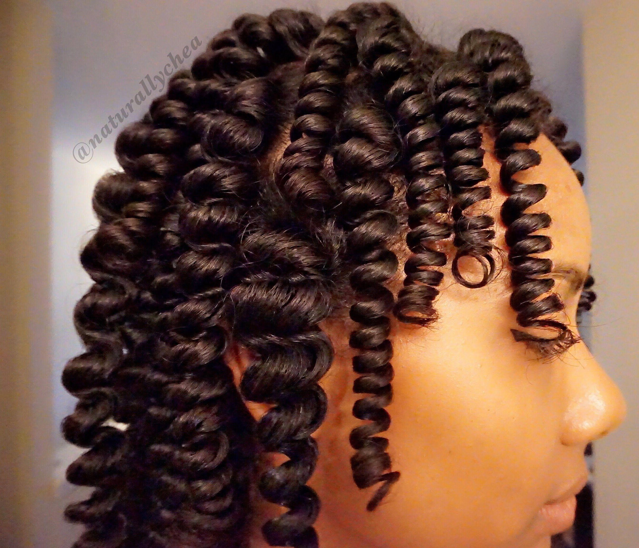 Heatless coils natural hair roller set baby hairs pinterest
