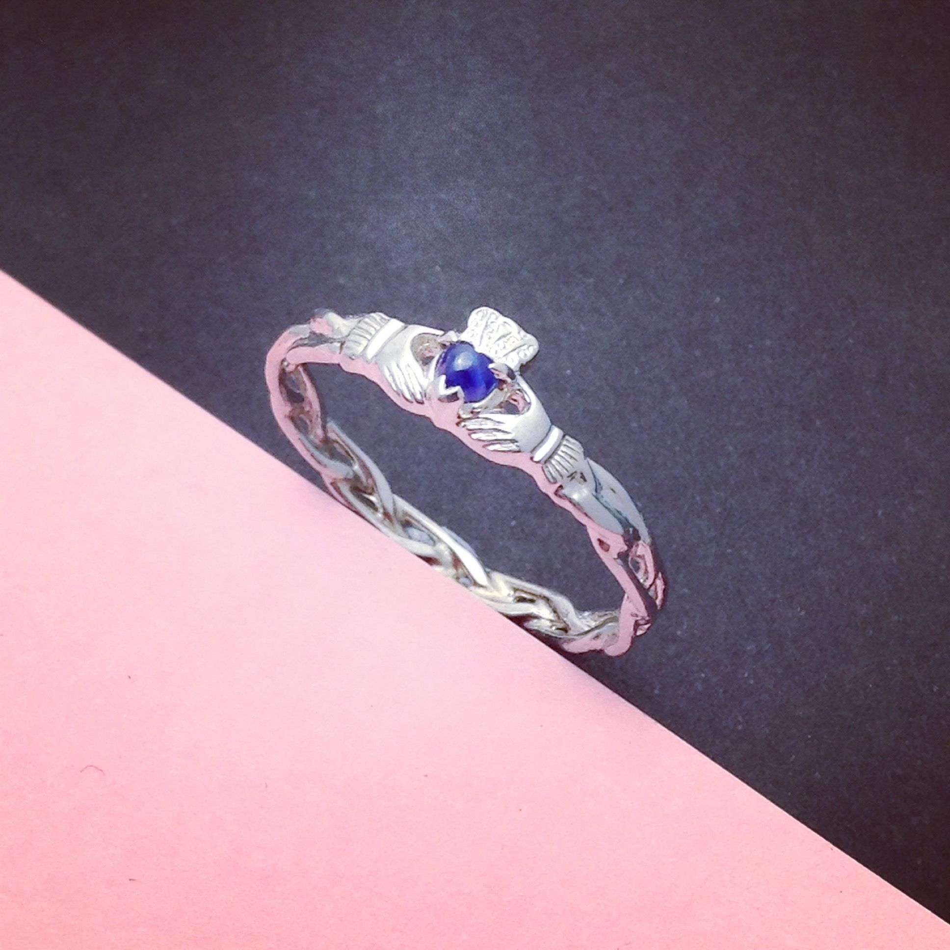 Sapphire Claddagh ring, ladies silver claddagh ring on celtic rope ...