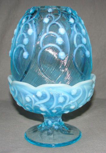 Fenton Art Glass Blue Opalescent Lily Of The Valley Fairy