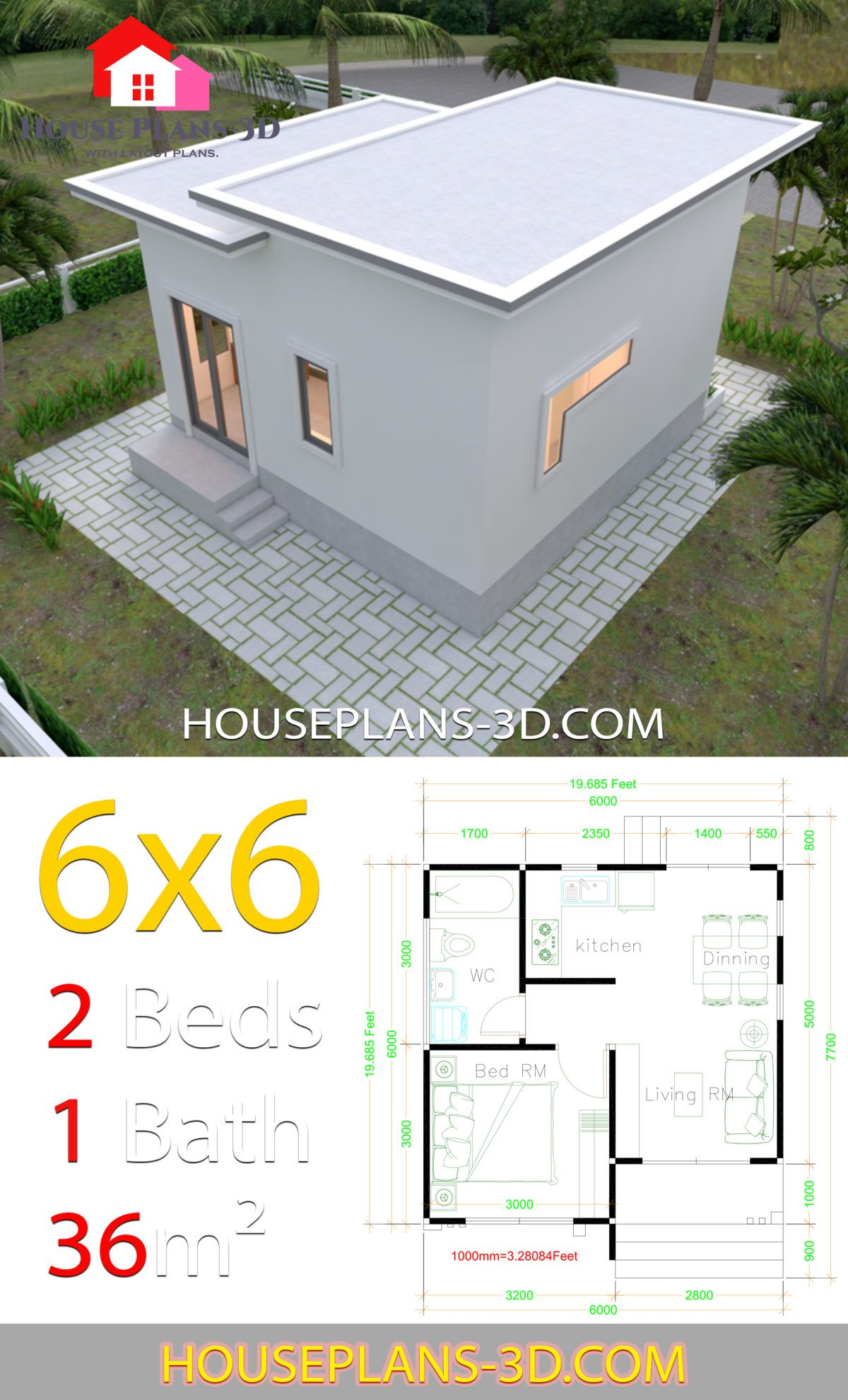 House Plans 6x6 With One Bedrooms Flat Roof House Plans 3d In 2020 Simple House Plans Flat Roof House House Plans