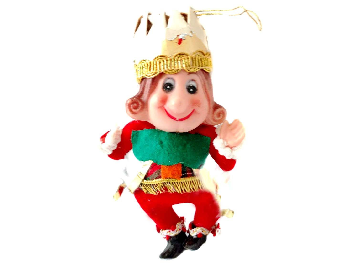 Old King Cole Ornament Nursery Rhyme Flocked Plastic Head Green Red ...