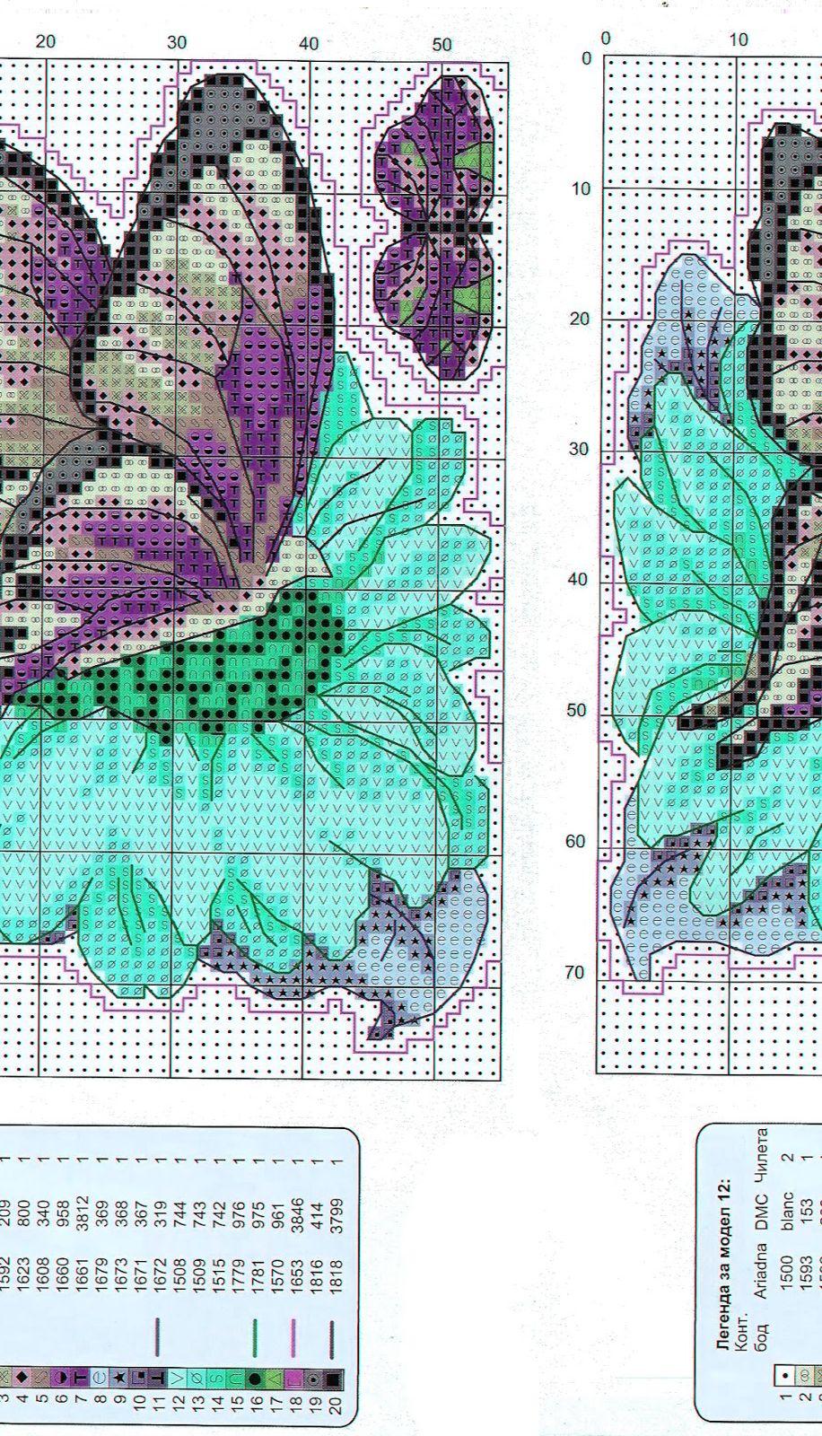 Ricami e schemi a punto croce gratuiti schemi farfalle e for Farfalle a punto croce