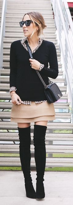 double layer skirt-chanel boy bag-suede over knee boots- shirt sweater styling