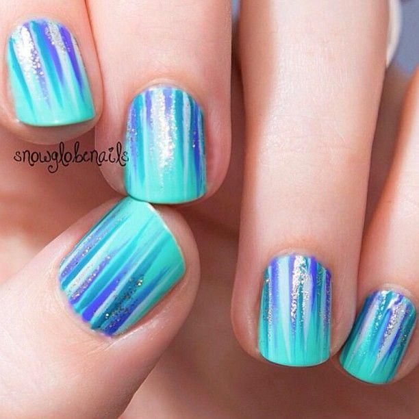 Cool Turquoise Nails | Nail Design Ideas | Pinterest | Accent nails ...