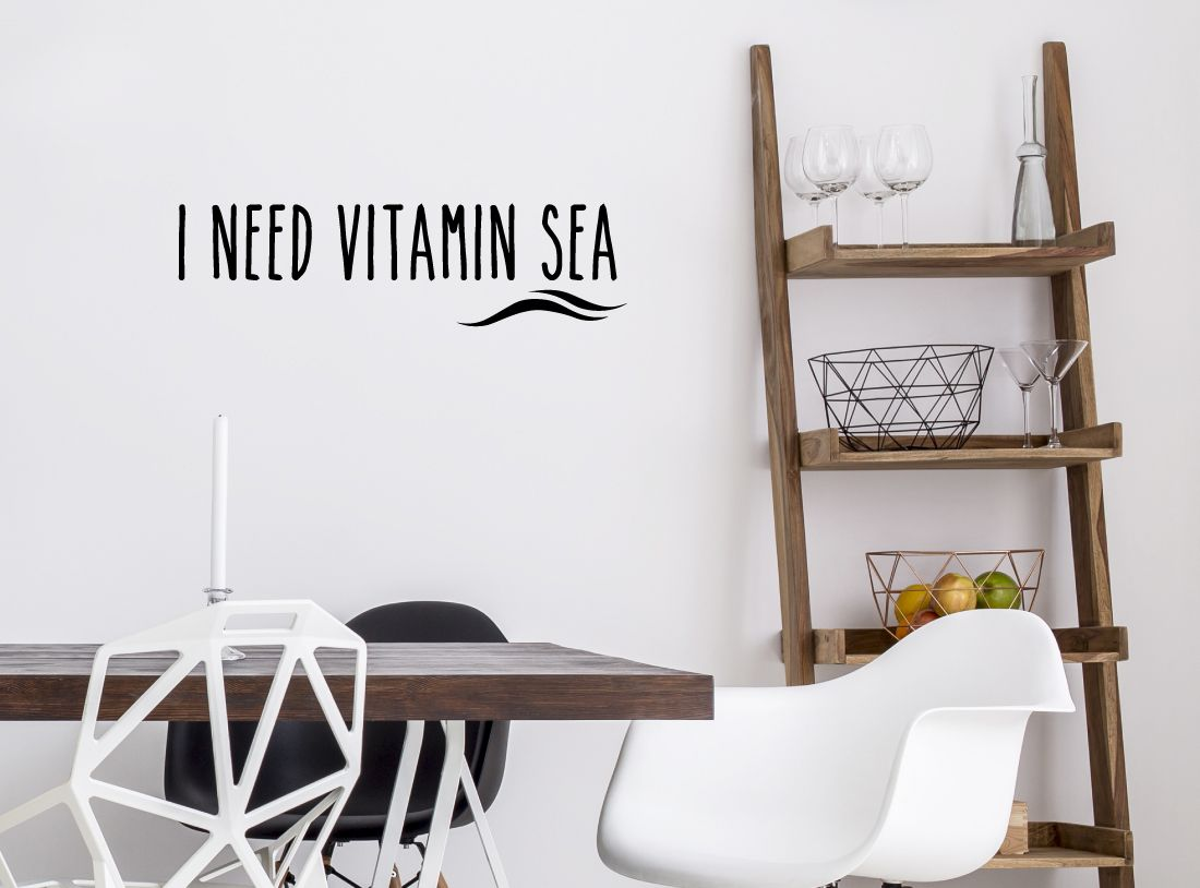 Wanddeko Küche wandtattoo spruch i need vitamin sea wandaufkleber wandsticker