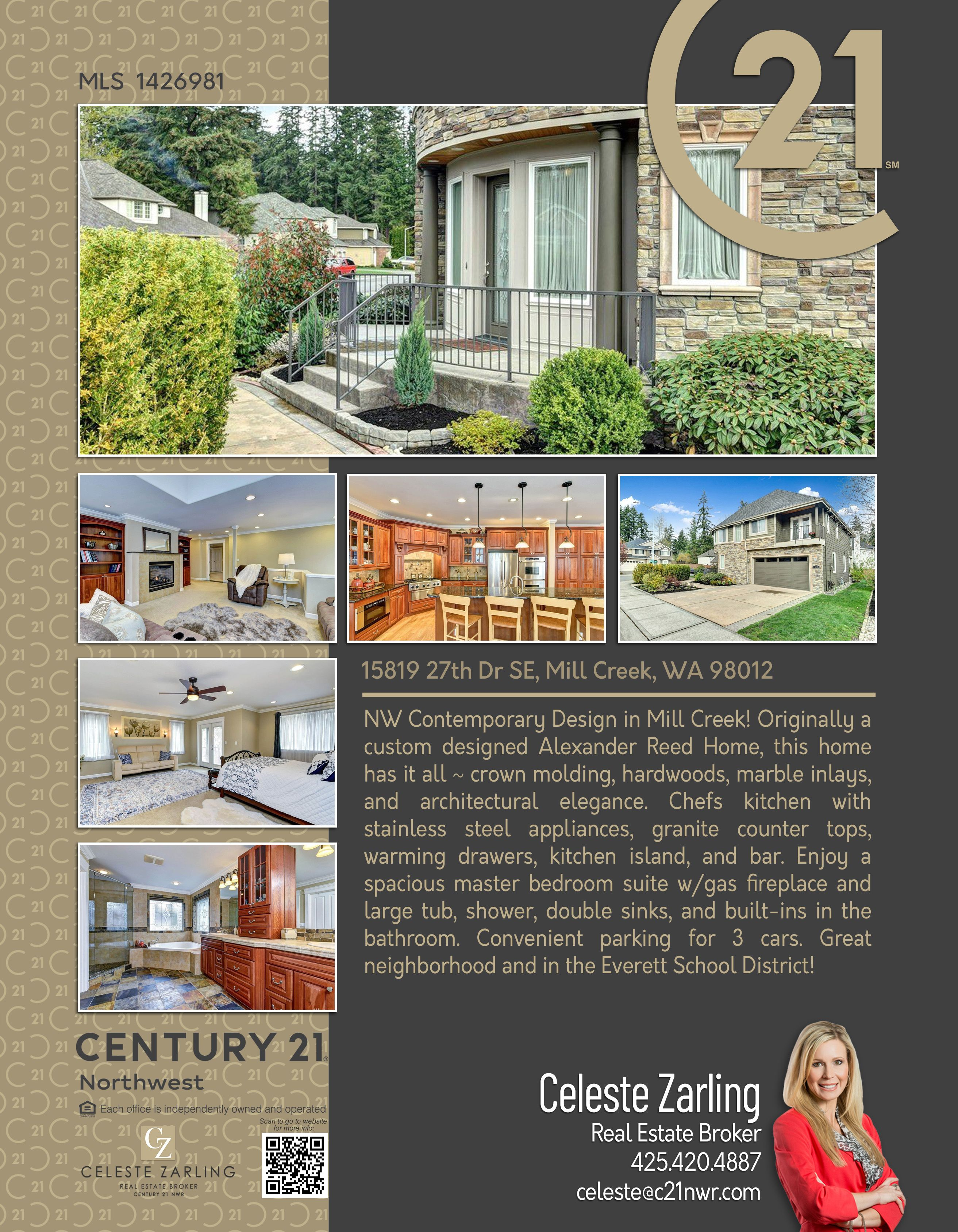 Newlisting Nw Contemporary Design In Mill Creek Originally A Custom Designed Alexander Reed Home This Home H Chefs Kitchen Marble Inlay Granite Countertops
