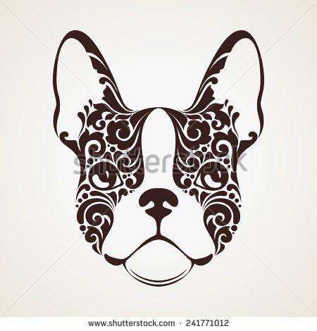 ornamental decorative dog french bulldog banco de ilustração