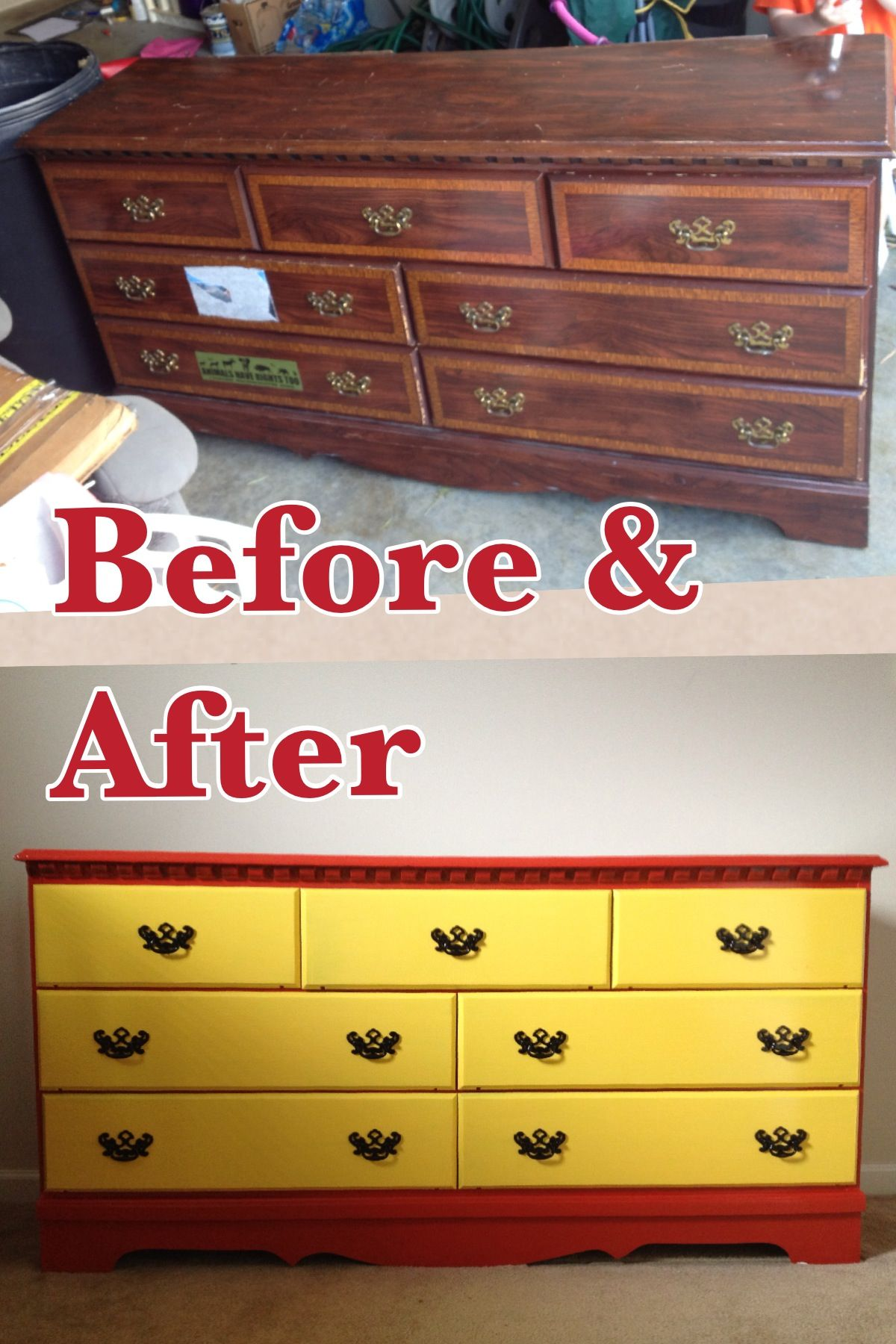 Painted dresser for the kids room Colors go with the firetruck