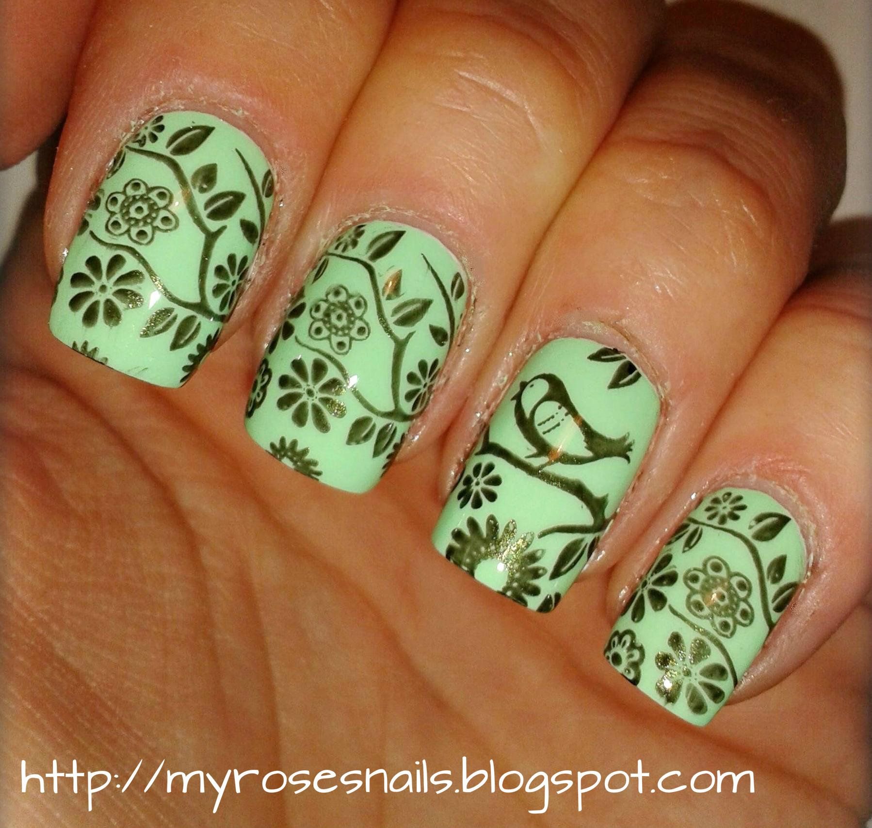 Birds on trees with MoYou London | My nails art | Pinterest