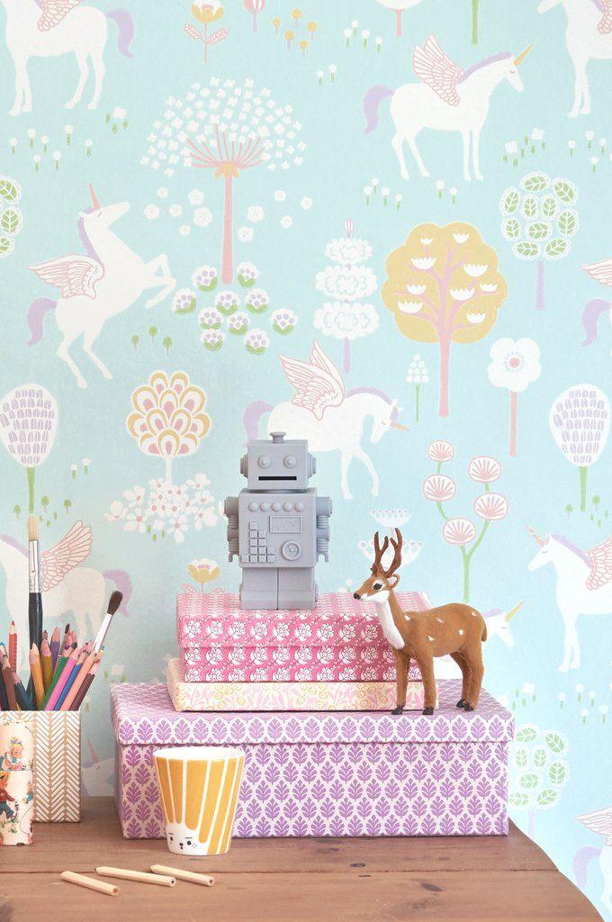 Majvillan Wallpaper   True Unicorns in Turquoise in 2019   Wall envy ...