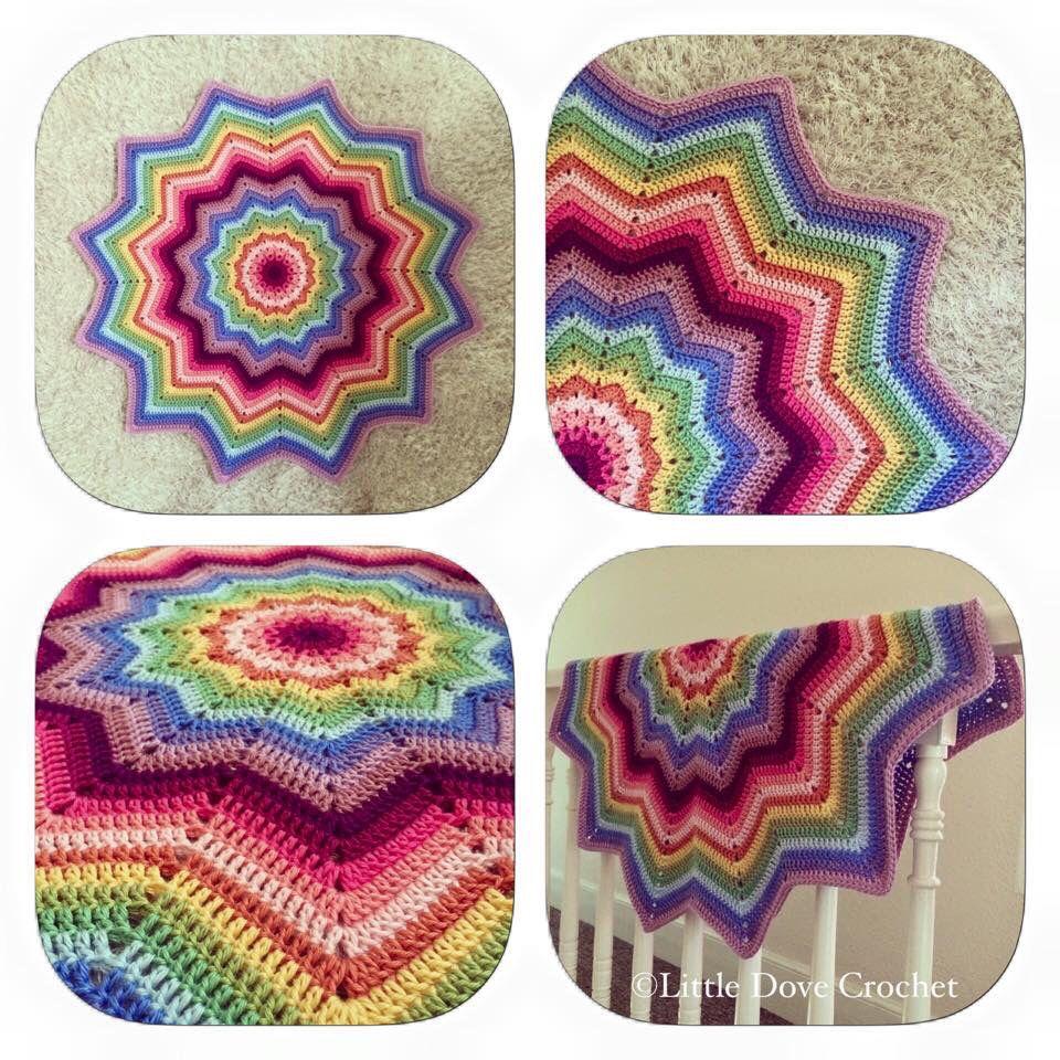 12 Point Rainbow Star Blanket Crochet Star N Mandala Throw