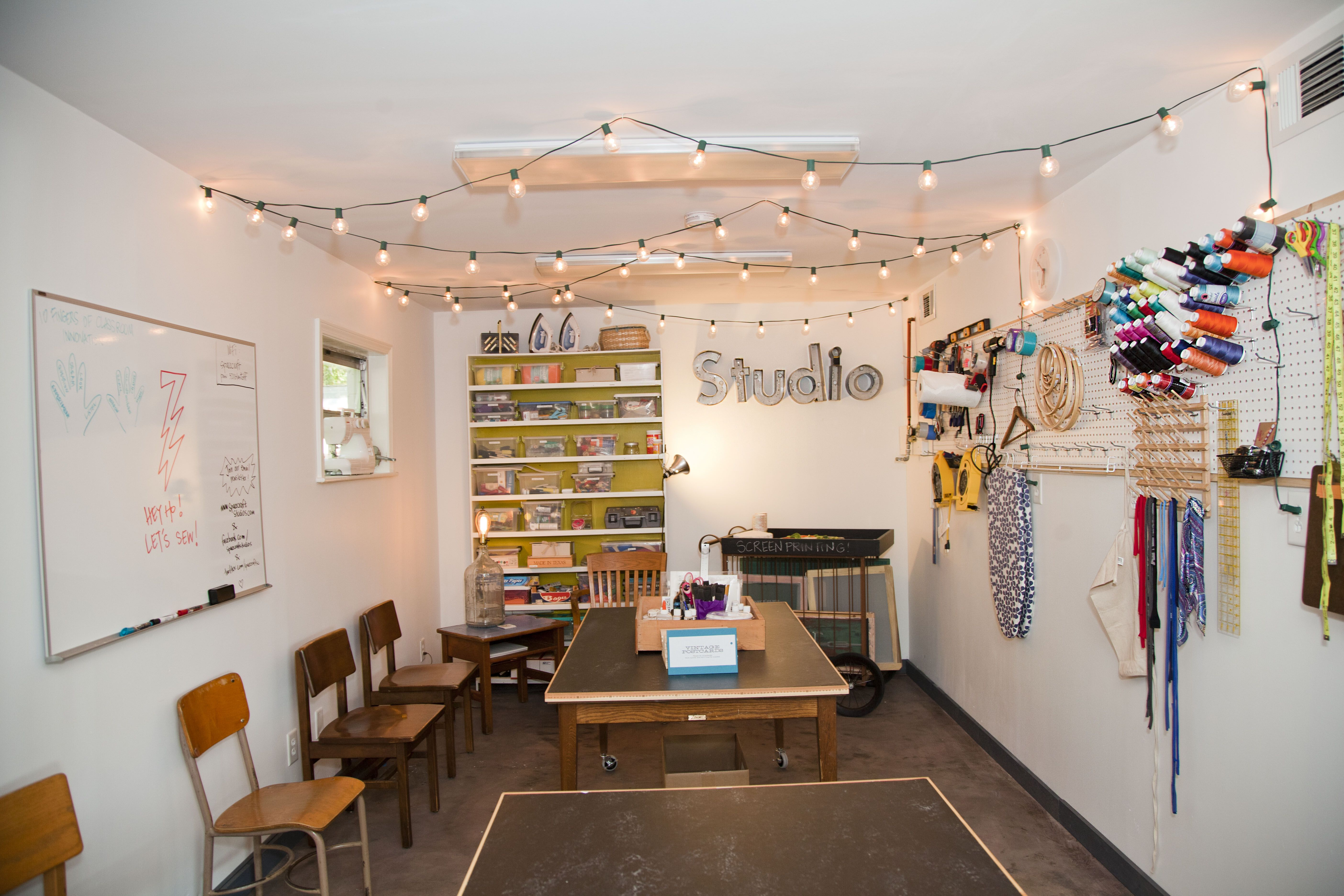 String Lights On Ceiling : string lights across ceiling Basement // Arts & Crafts Area Pinterest Crafts, Studios and On