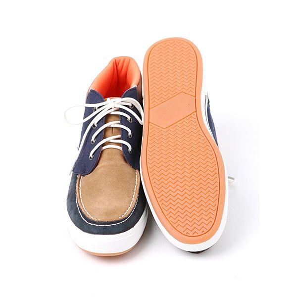 pictures of men's shoes high tops | Mens Navy faux suede canvas Lace up high top sneakers US 7-10.5 made ...