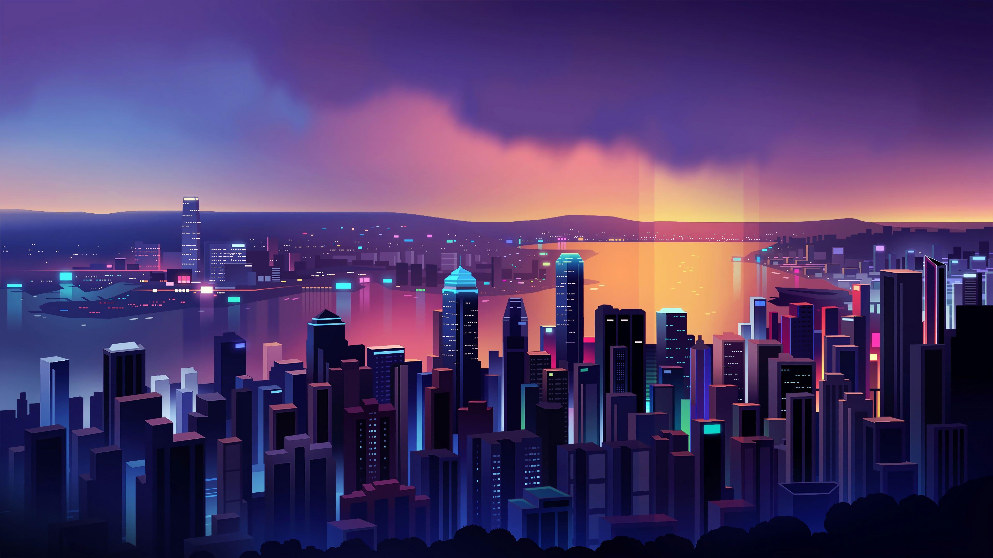 Neon City In 2020 City Wallpaper Cityscape Skyline