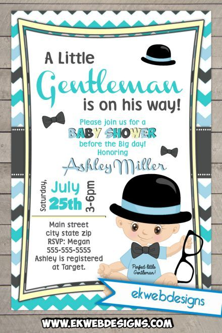 A Little Gentleman Is On His Way Baby Shower Invitation