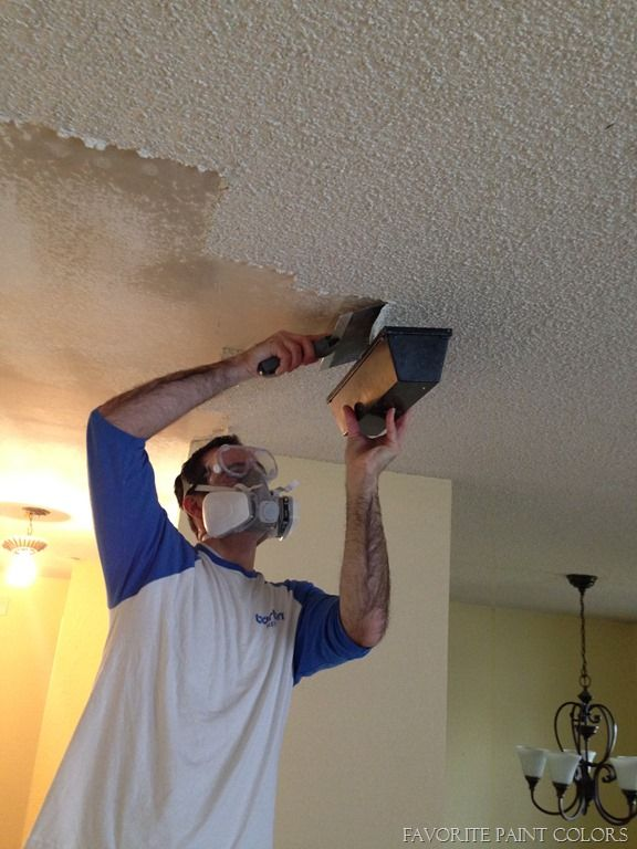 Removing The Popcorn Ceiling In The Basement Bedroom