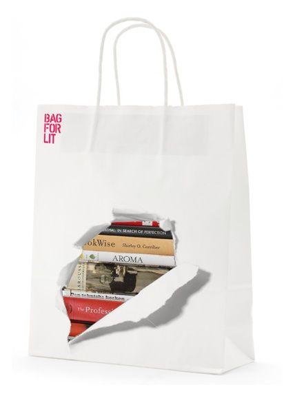Bærepose i kreativt og sjovt design til bibliotek og bøger  - Carrier bag in a creative and funny design for books and library