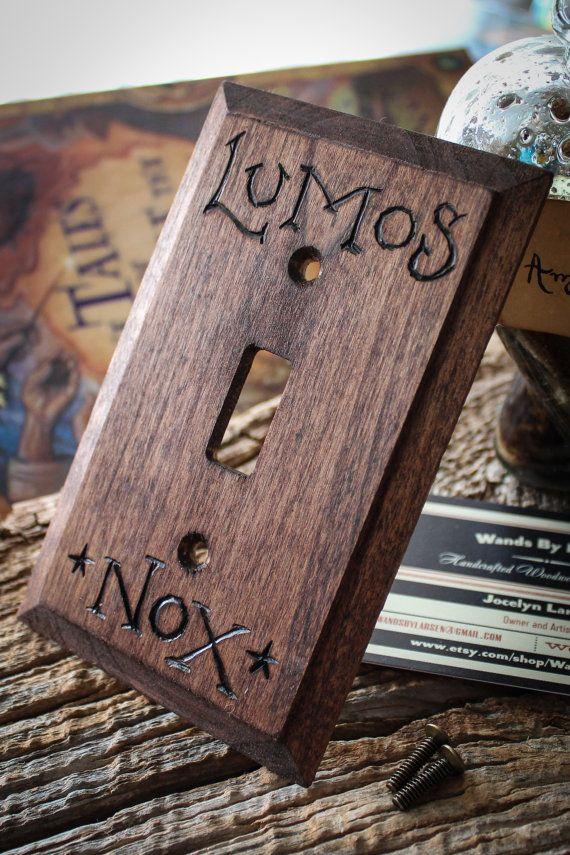Lumos-Nox Harry Potter light switch wall panel by TheGypsysSatchel