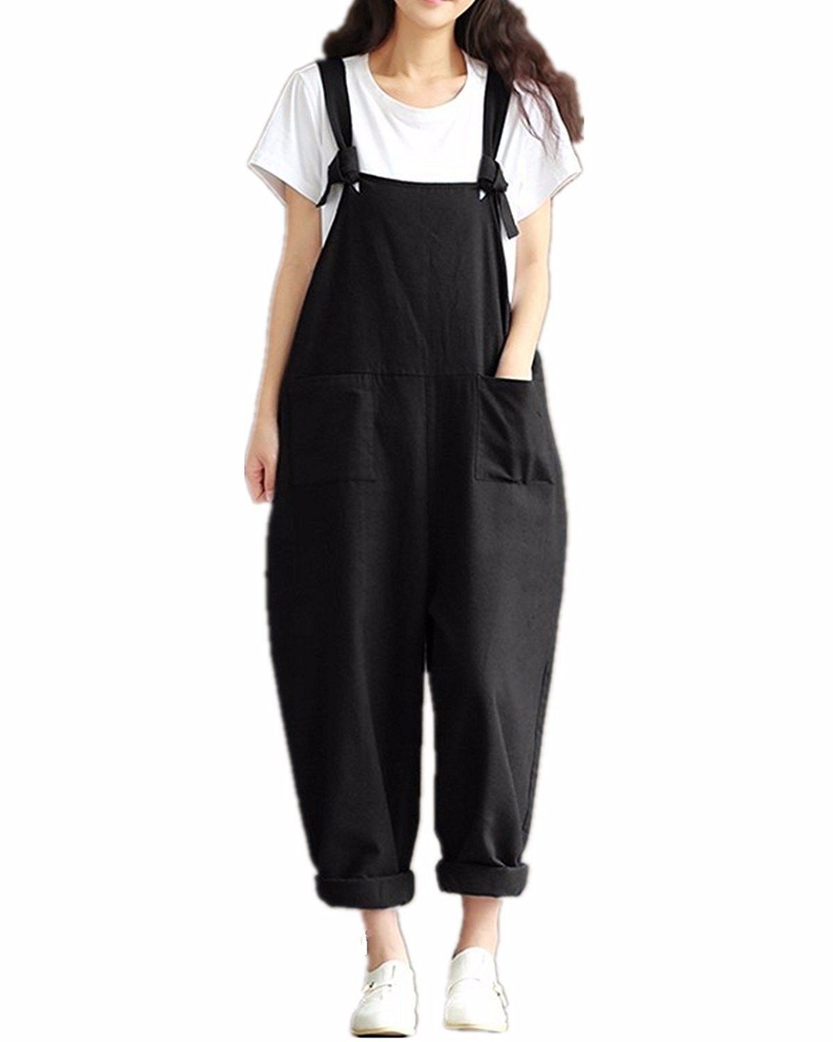 Women s Strap Overall Pockets Long Playsuit Casual Baggy Sleeveless ... 33ae737ec216