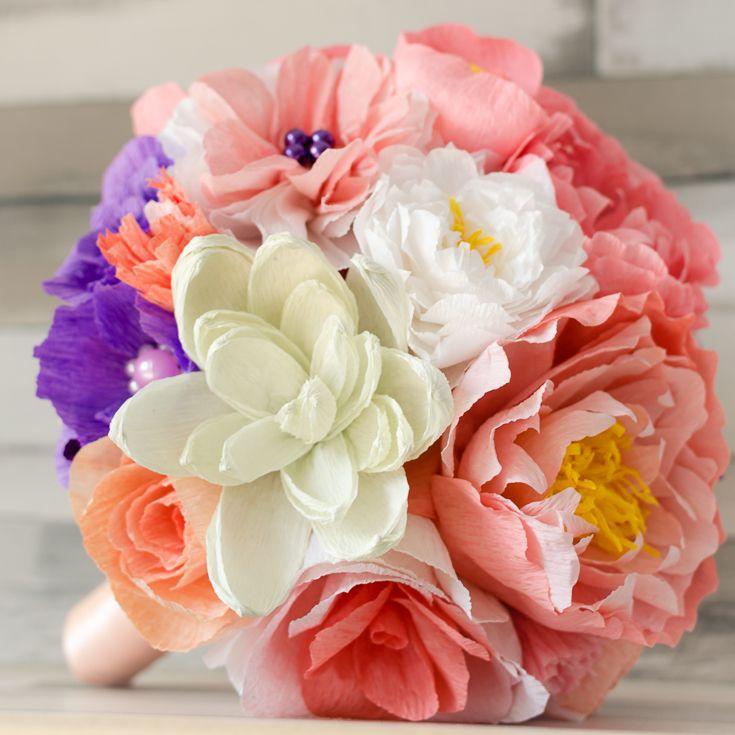 Flori de hartie pentru nunta si botez, buchet mireasa, lumanari, cocarde si marturii, paperflowers | Bucuresti Romania