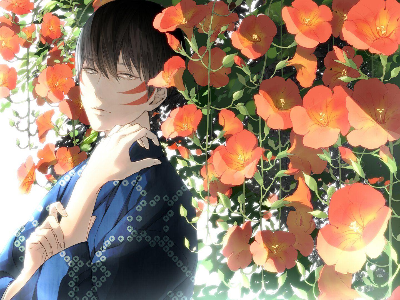 Anime flower boy face kimono wallpaper 1440x1080