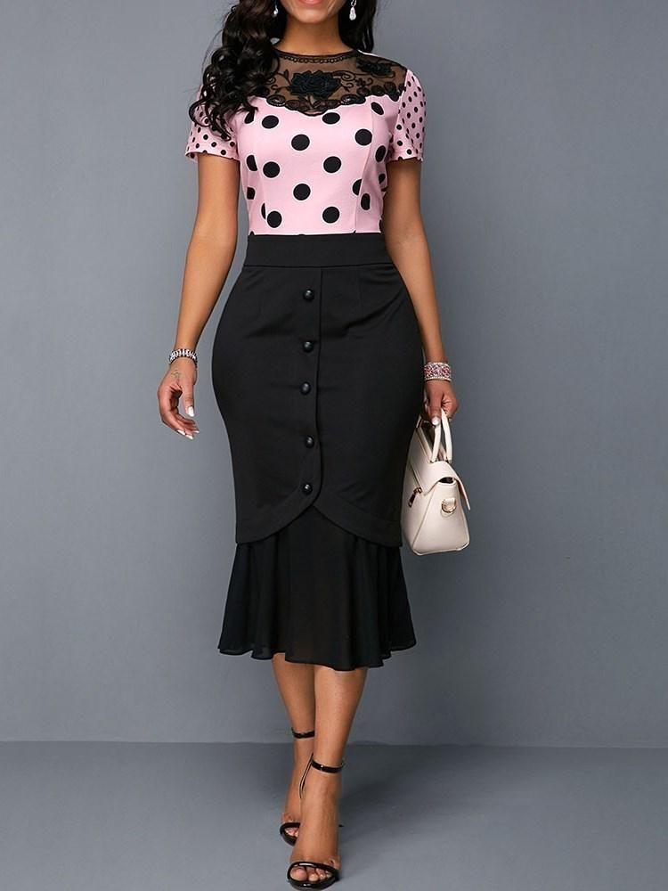 Short Sleeve Mid-Calf Embroidery High Waist Pullover Dress